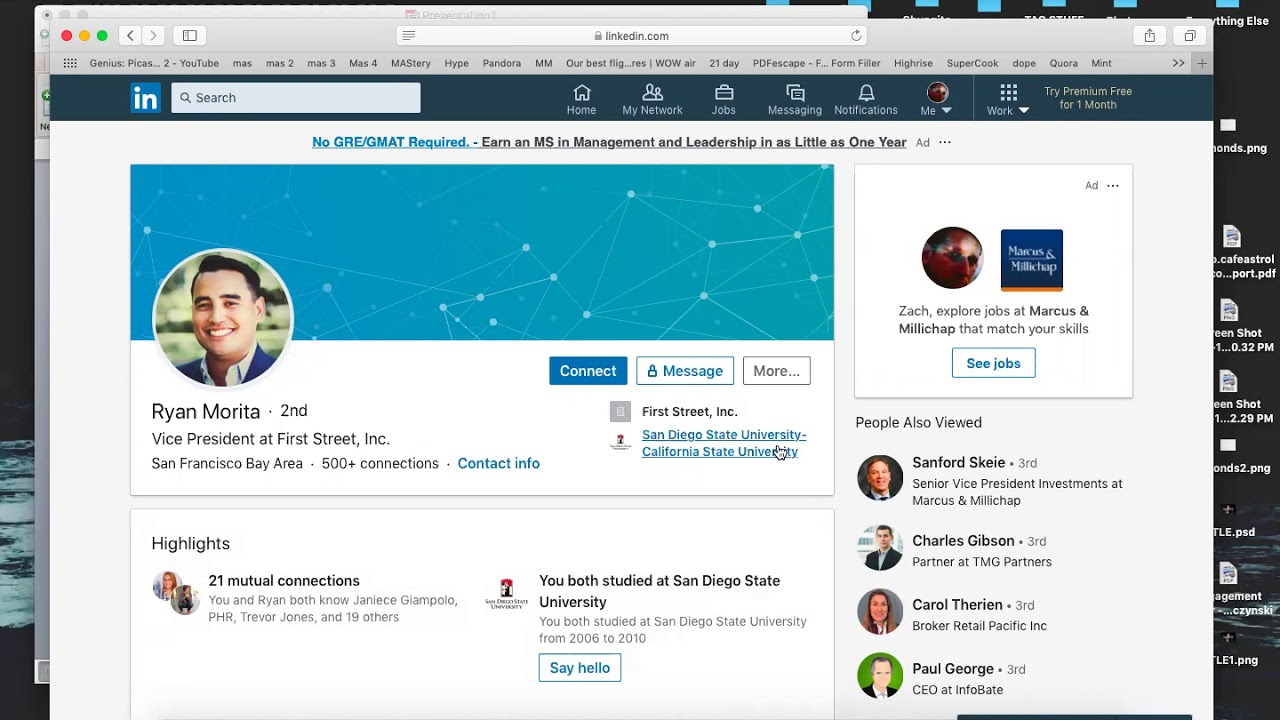 In-person meetings with LinkedIn screenshot on a computer